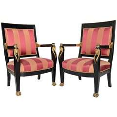 Pair of Italian Neoclassic Ebonized and Parcel-Gilt Armchairs