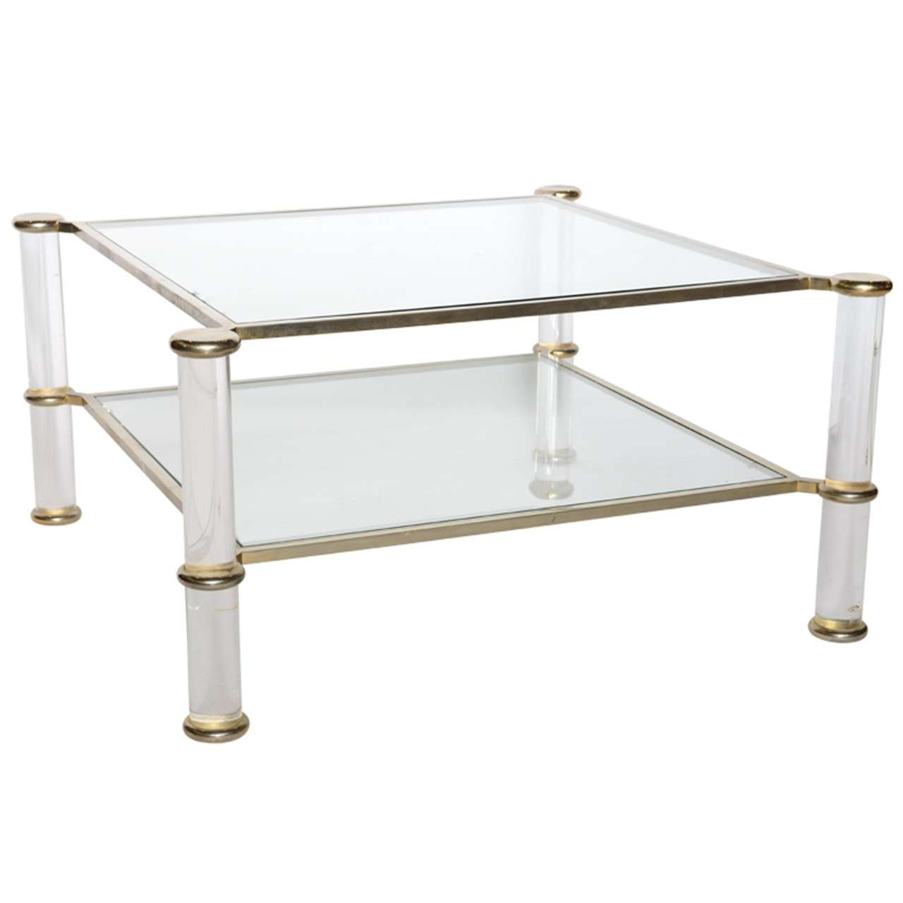 A Lucite, Glass, Chrome And Brass Low Table, Attributed To