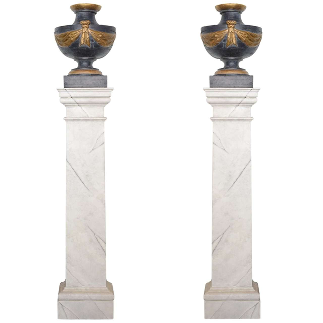 Pair of Italian Neoclassic Painted and Parcel-Gilt Urns on Pedestals