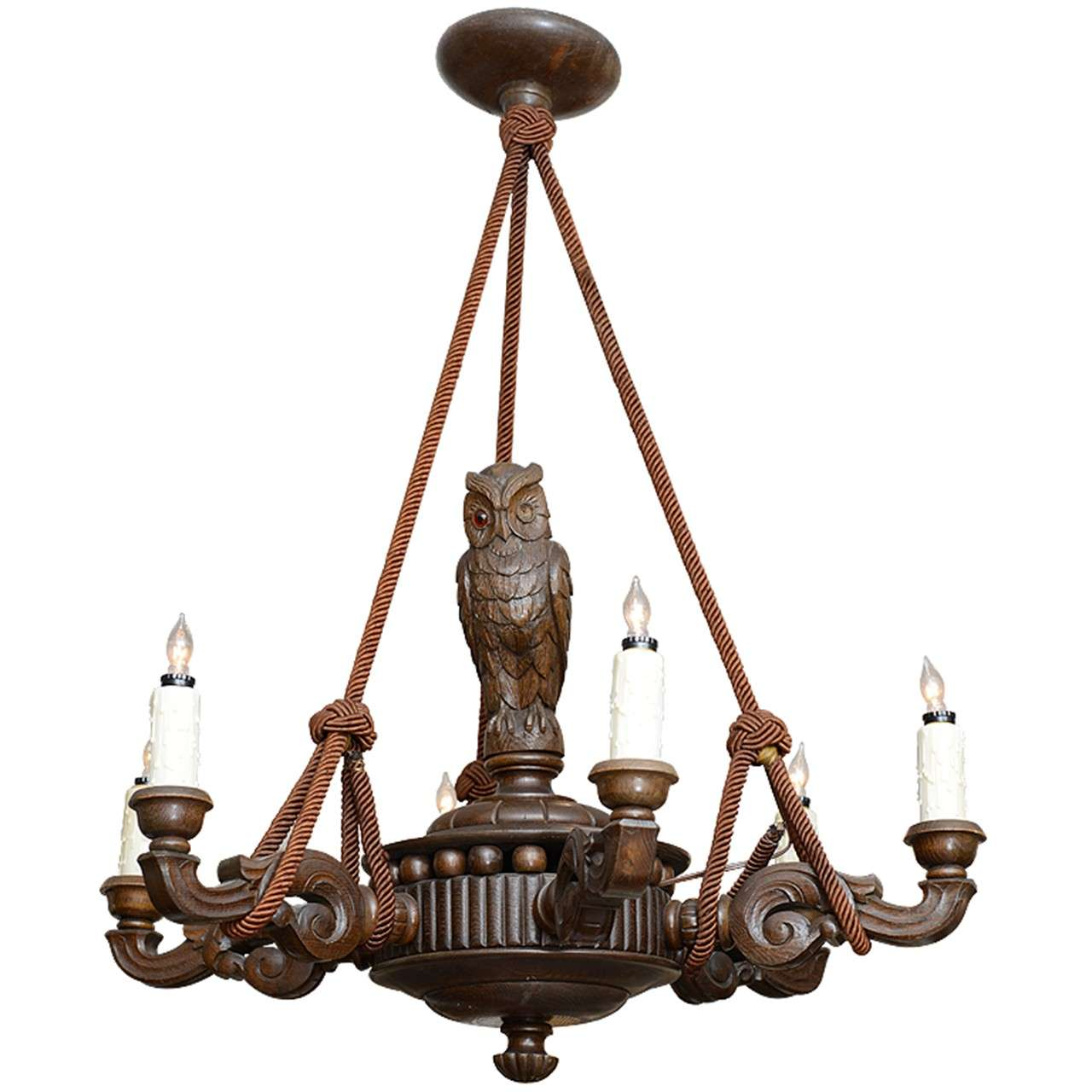Black Forest Chandelier Hand Carved With Rope Hangings