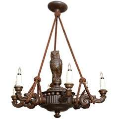 Black Forest Chandelier, Hand Carved with Rope Hangings, 19th Century