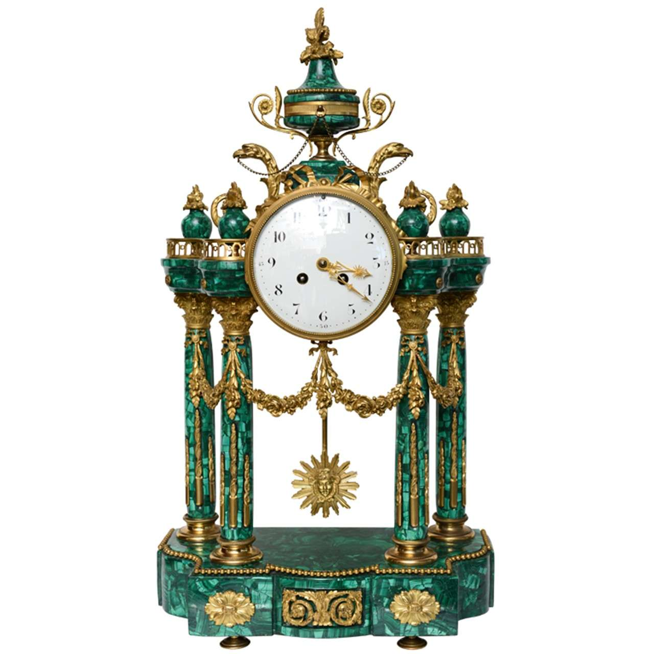 Important Neo Classical Malachite And Ormolu Mantel Clock