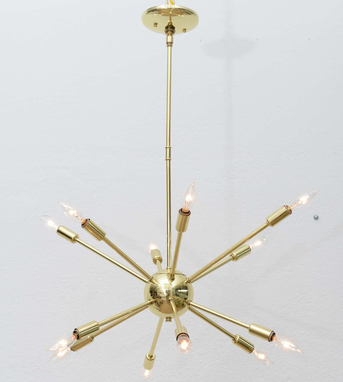 Polished brass sputnik chandelier at 1stdibs for Sputnik chandelier