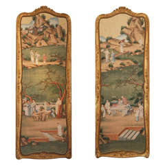 Pair Antique 19th Century Chinese Panels in French Gilt Frames