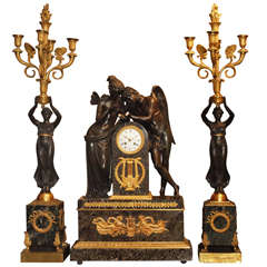Antique French Marble and Bronze Garniture circa 1870