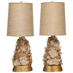 Pair of Rock Crystal Lamps by Carole Stupell