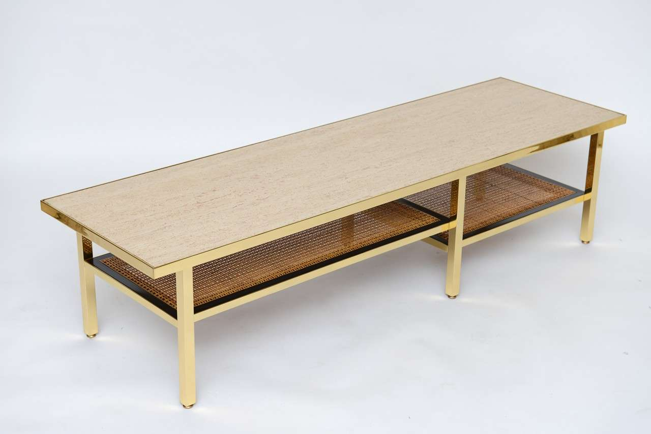 Brass Travertine And Rattan Coffee Table By Harvey Probber At 1stdibs