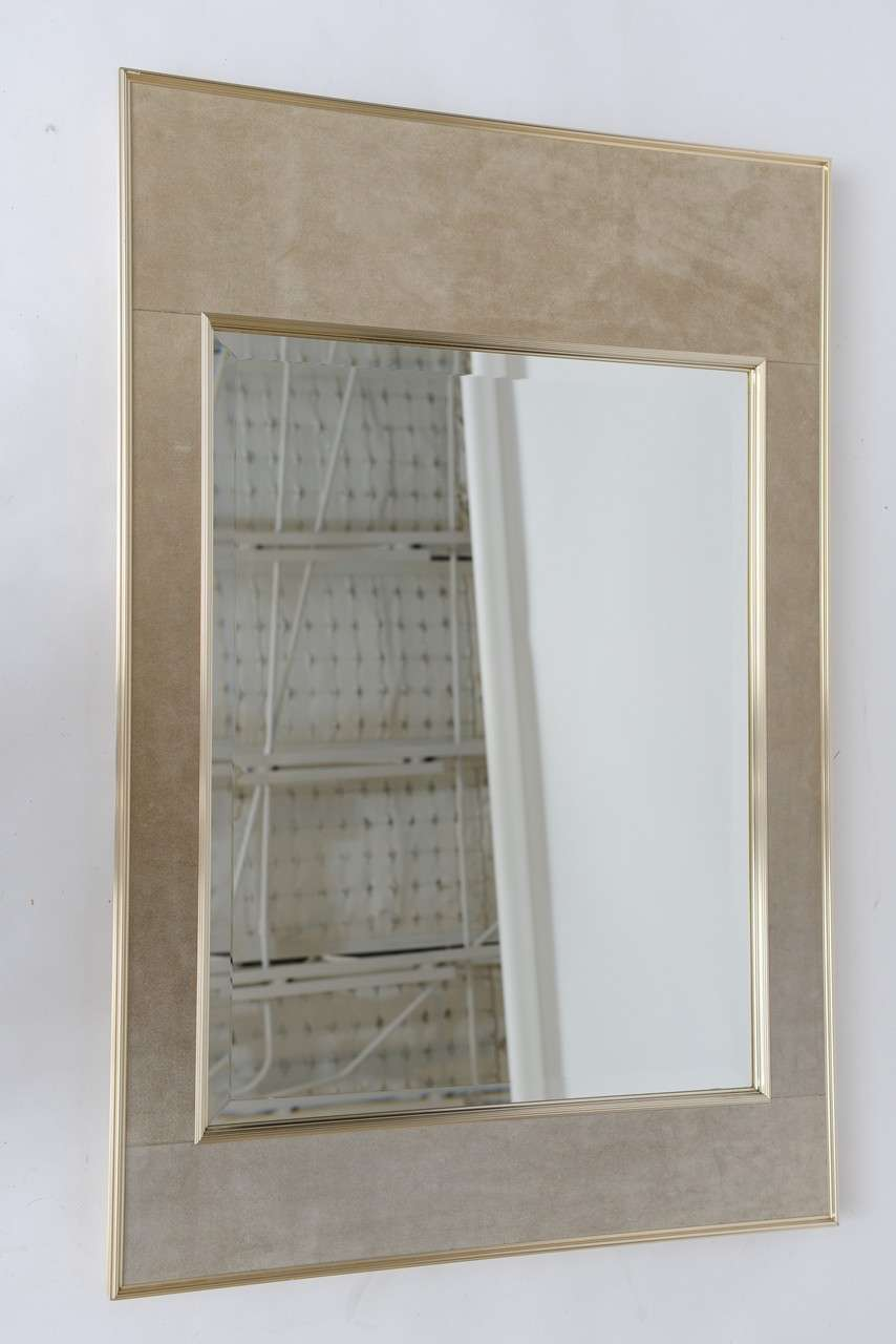 Spring Sale-La Barge Sueded Leather Mirror with Anodized Aluminum ...