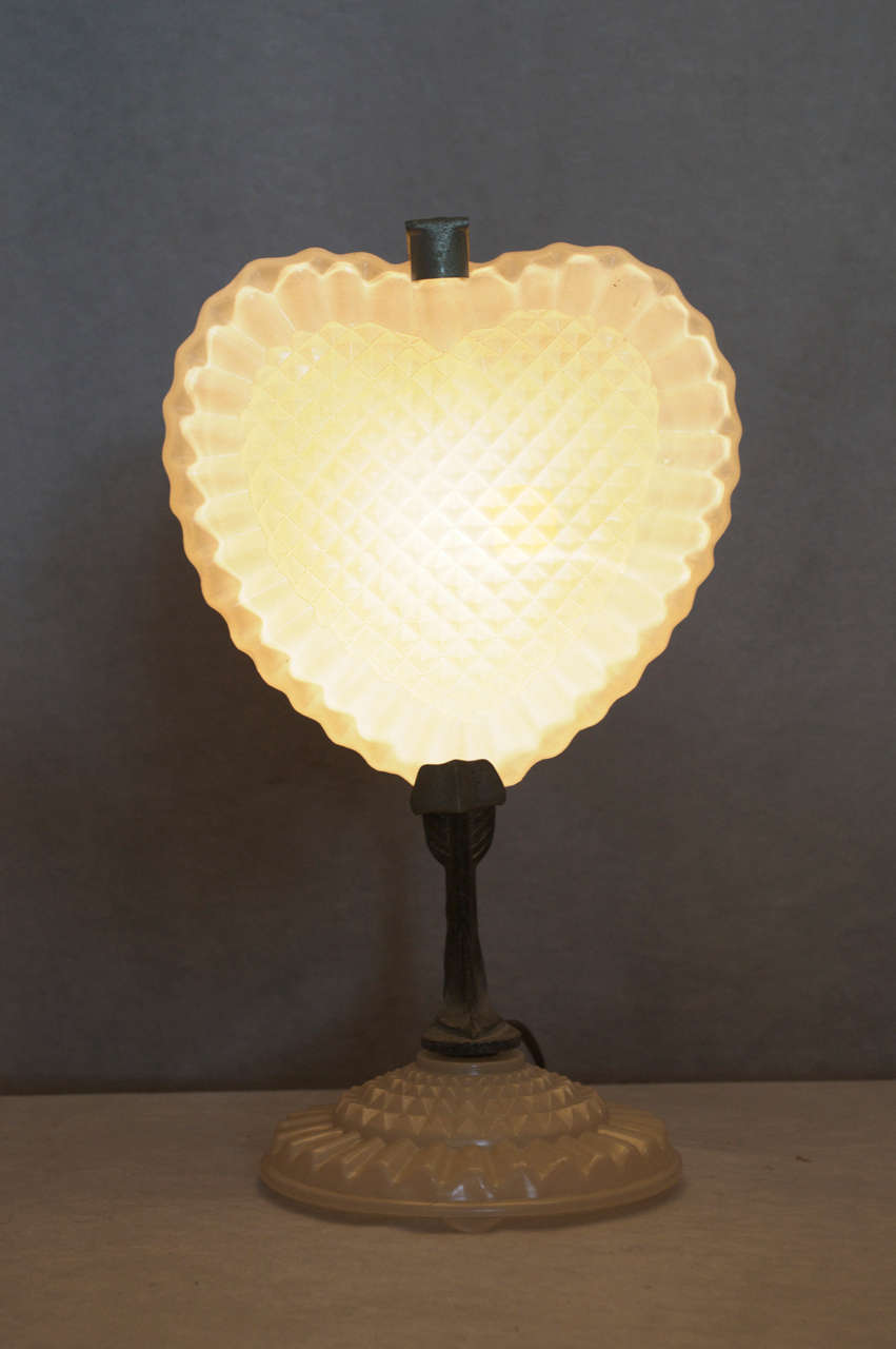 Unusual Art Deco Heart Shaped Lamp At 1stdibs