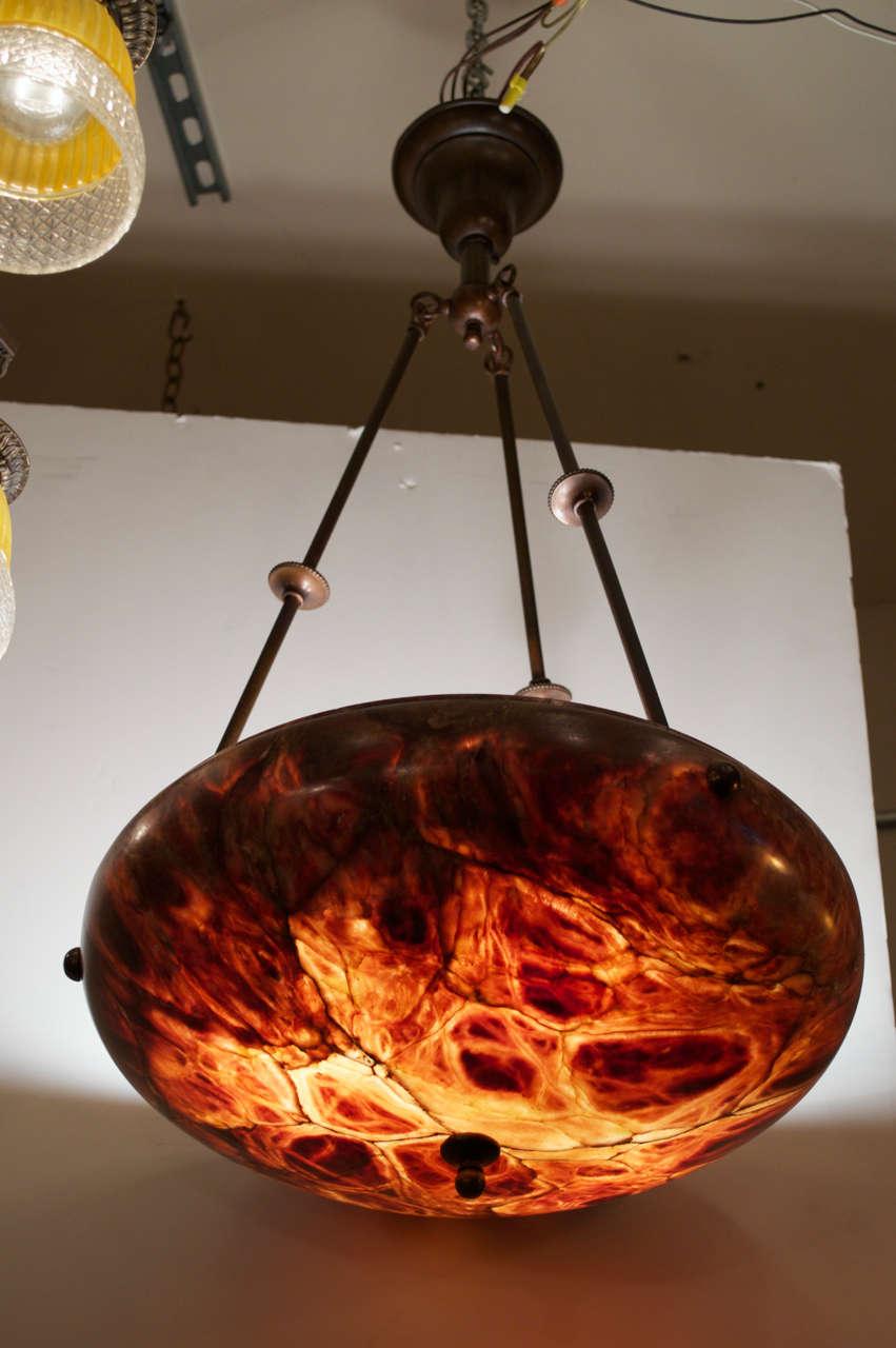 Alabaster Chandelier Tortoiseshell Design At 1stdibs