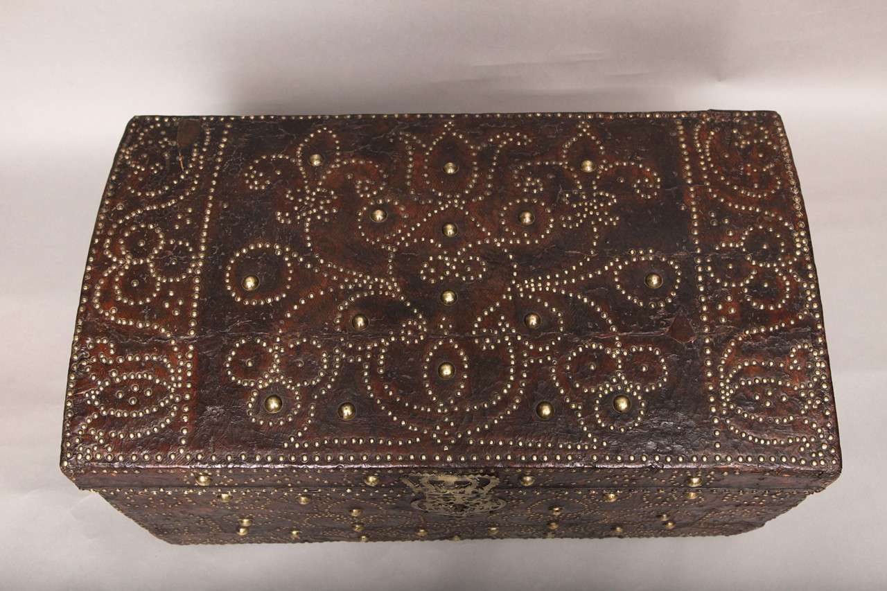 Early 18th Century Studded Leather Traveling Chest At 1stdibs