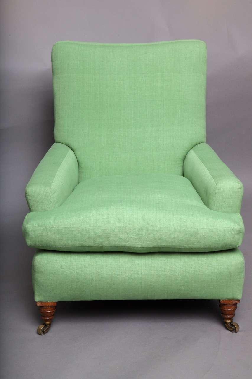 English Club Chair in Green Linen 2
