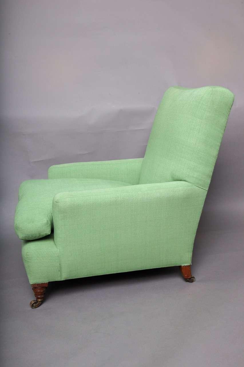 English Club Chair in Green Linen 3