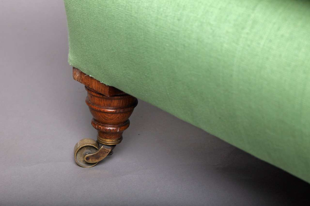 English Club Chair in Green Linen 4