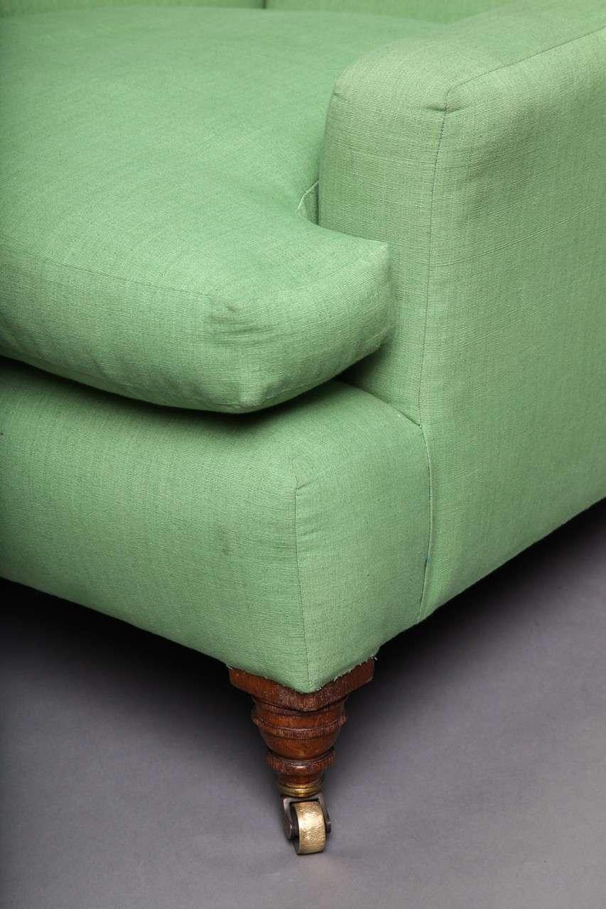 English Club Chair in Green Linen 5