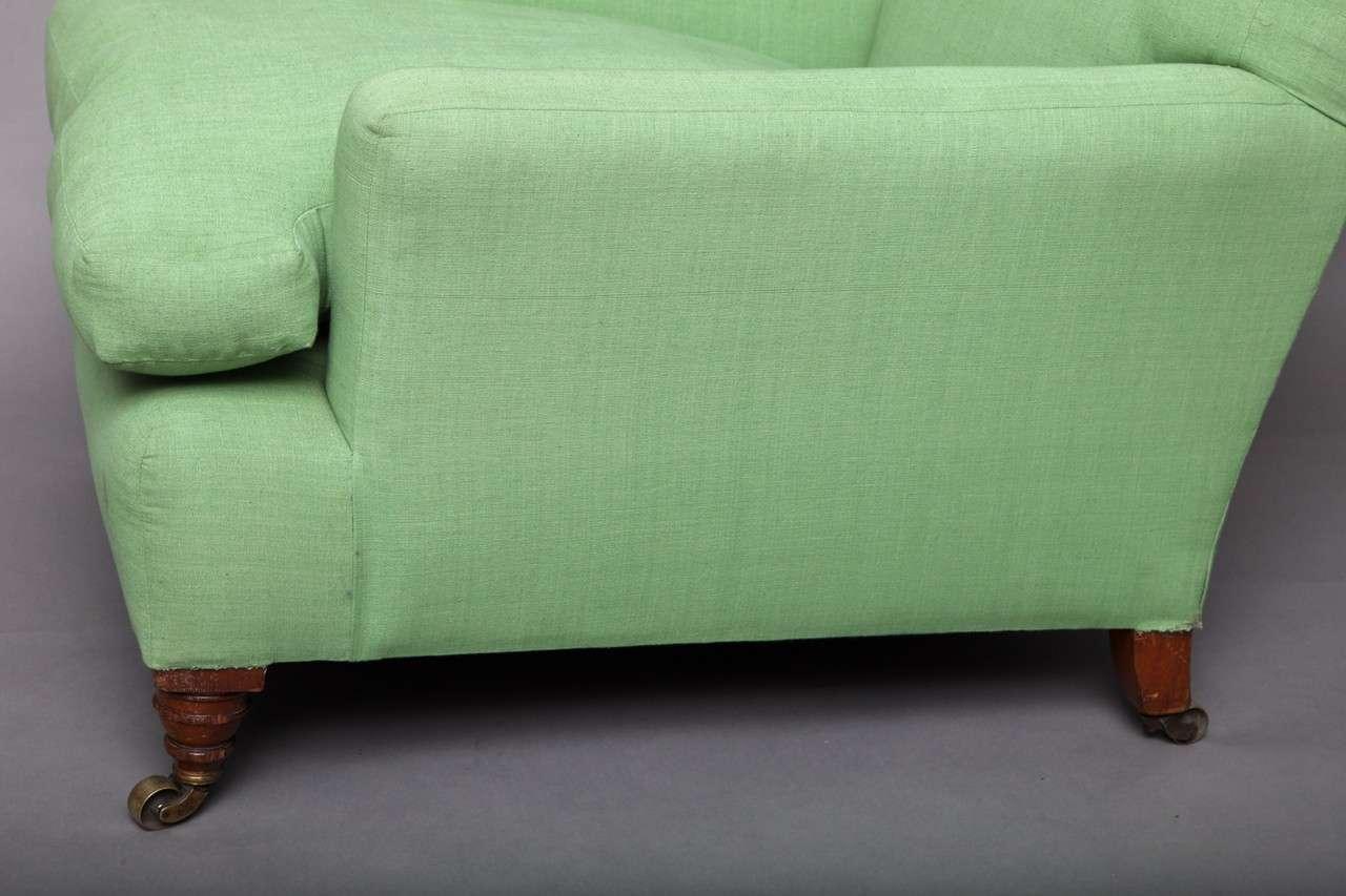 English Club Chair in Green Linen 6