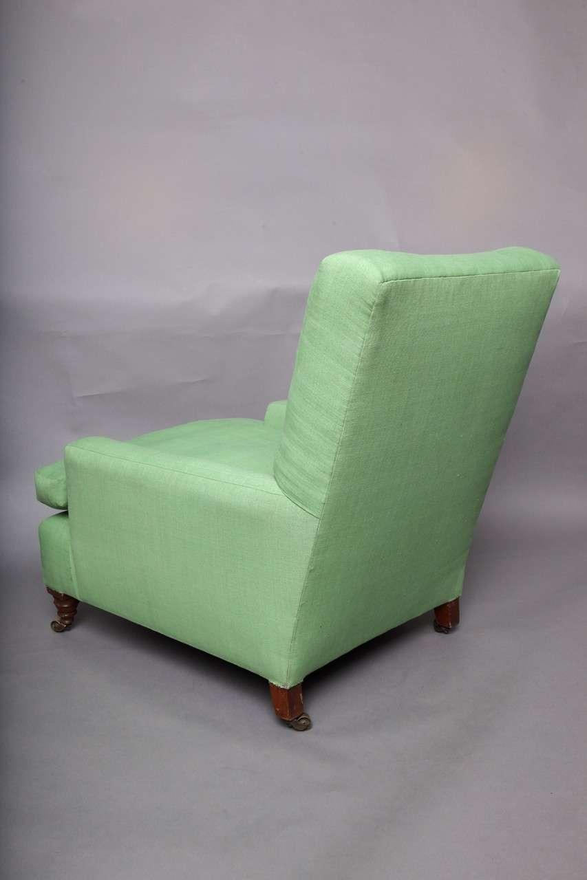 English Club Chair in Green Linen 7