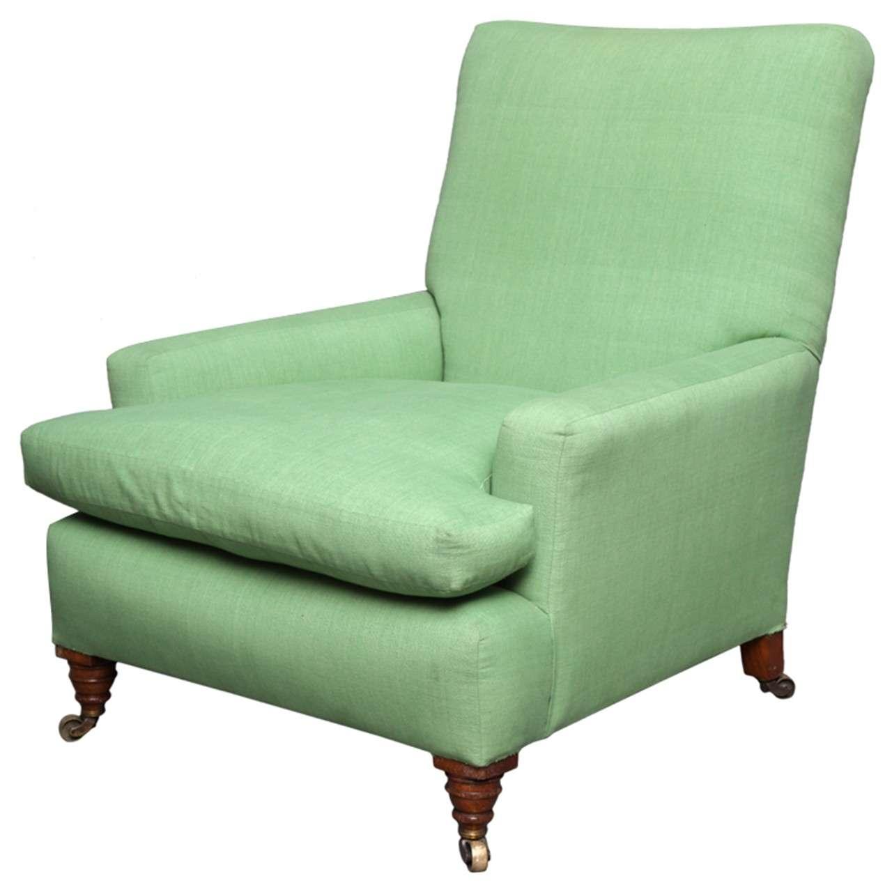English Club Chair in Green Linen 1
