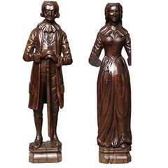 Pair of Early 18th Century Carved Oak Newel Post Figures