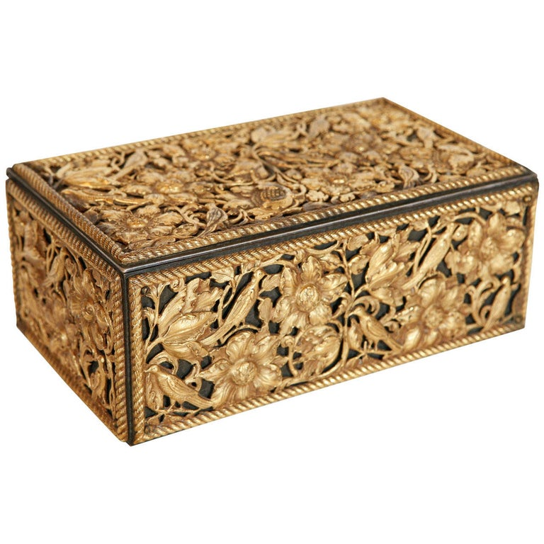 19th Century Gilt Bronze Humidor For Sale