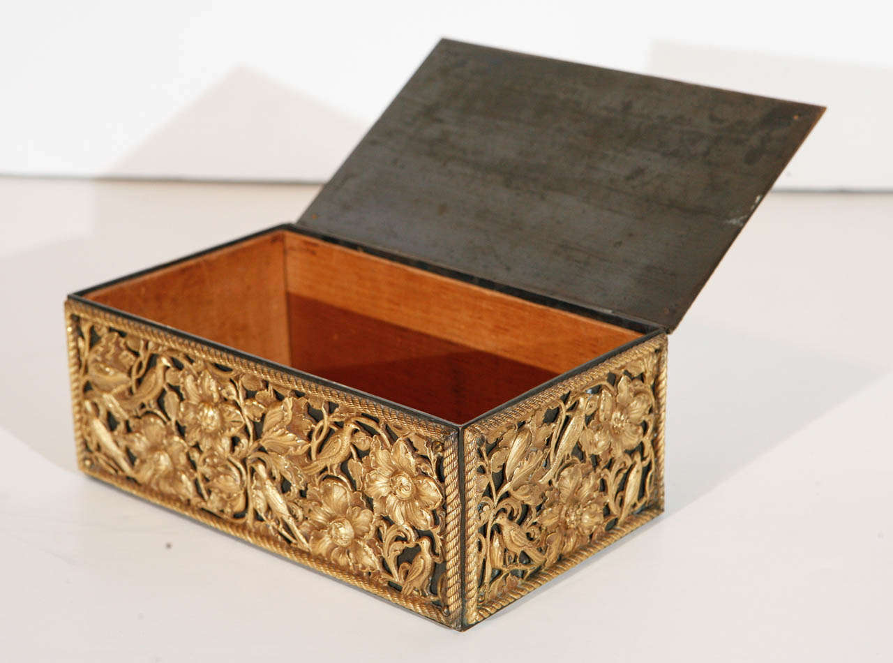 American 19th Century Gilt Bronze Humidor For Sale