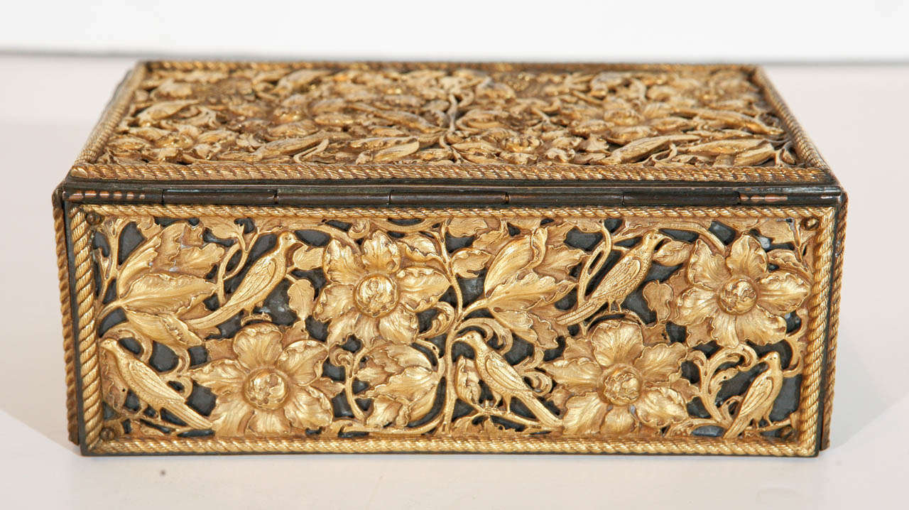 19th Century Gilt Bronze Humidor For Sale 1
