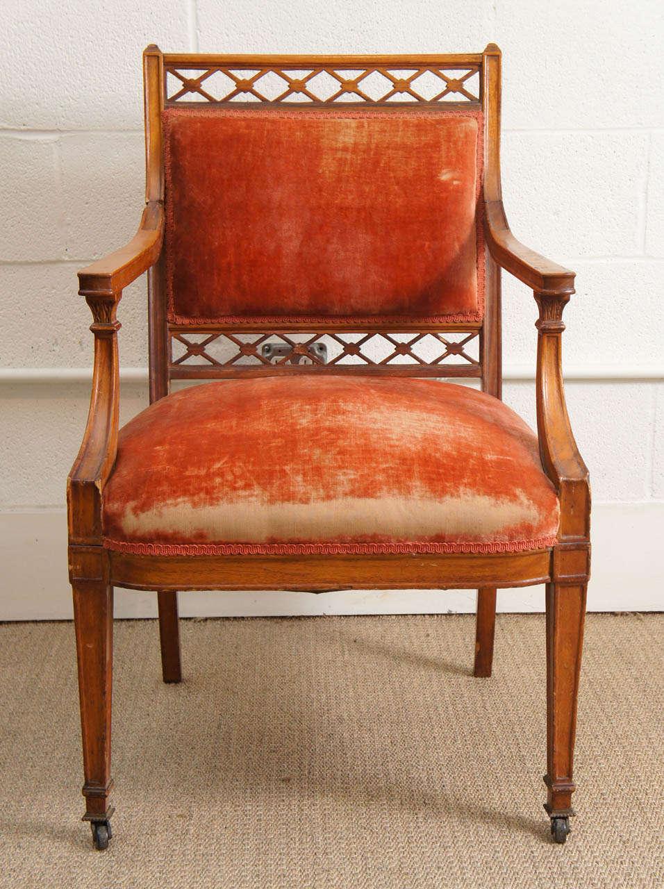 a regency chair with silk velvet upholstery for sale at 1stdibs. Black Bedroom Furniture Sets. Home Design Ideas
