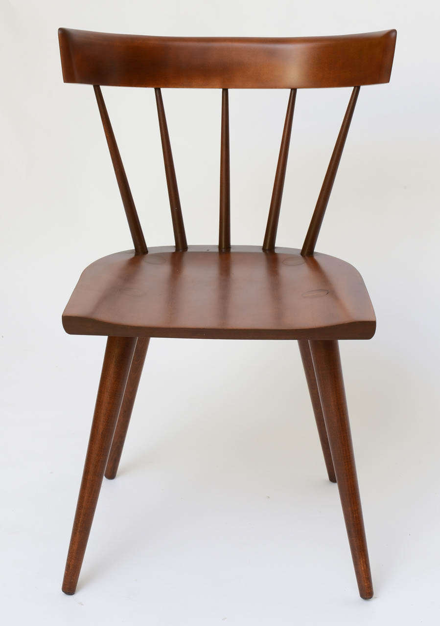 Single Paul Mccobb Spindle Back Chair In Dark Maple At 1stdibs