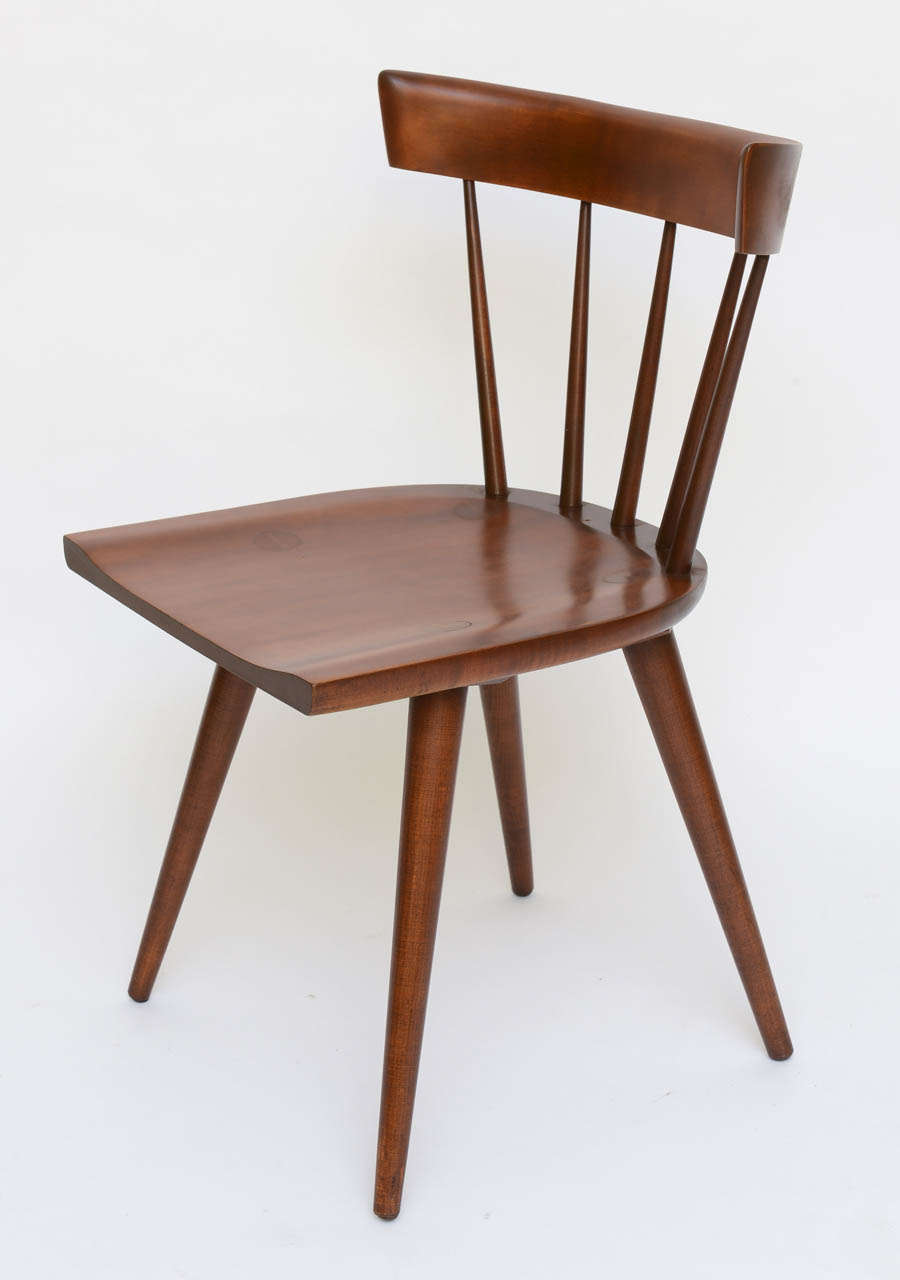 Single paul mccobb spindle back chair in dark maple for for Single dining room chairs