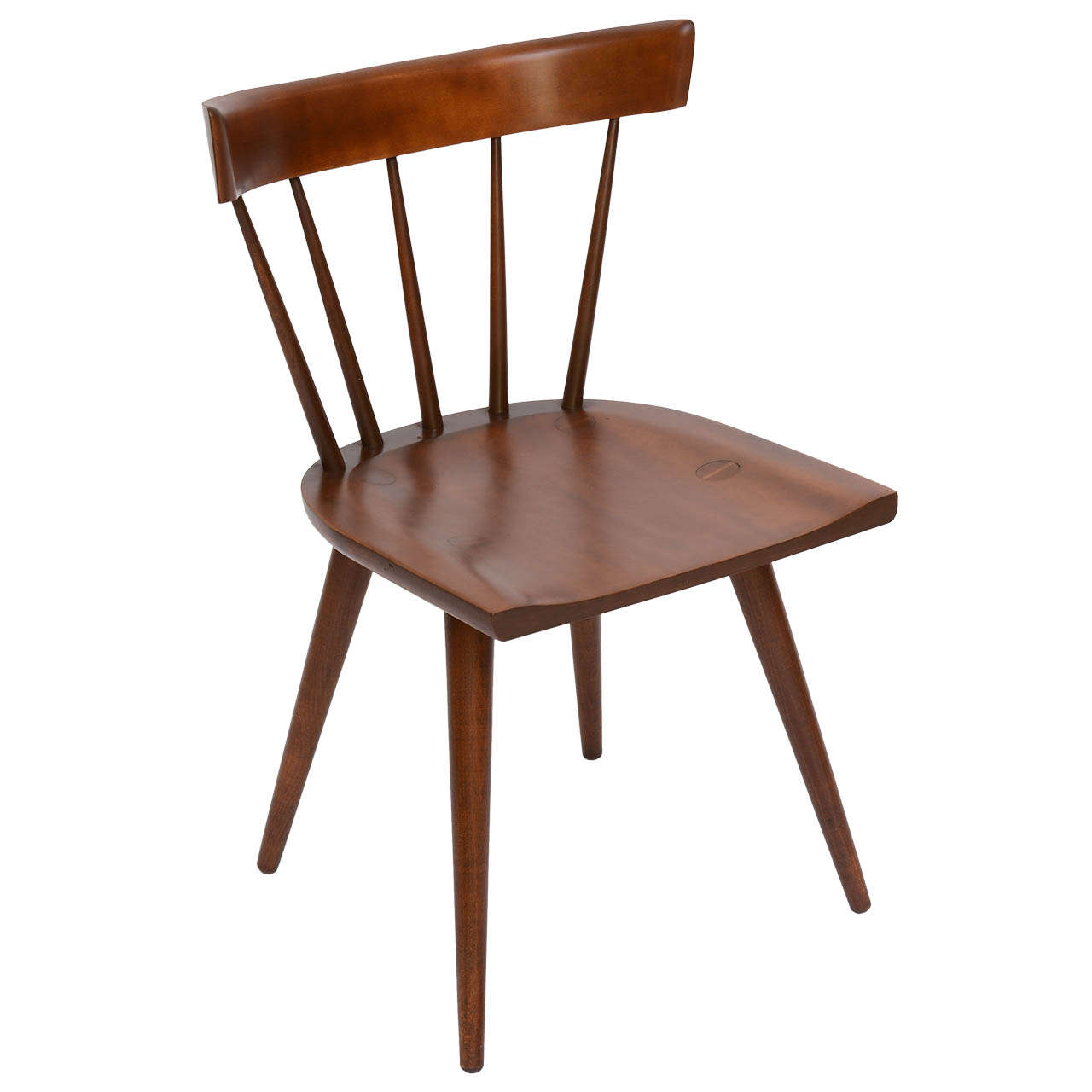 Single Paul McCobb Spindle Back Chair In Dark Maple For Sale