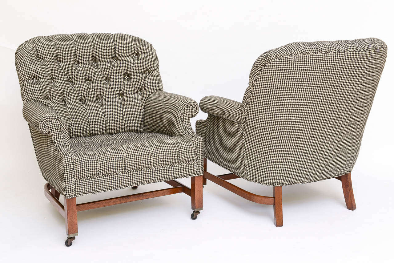 Beefy Edwardian Style Button Tufted Club Chairs In