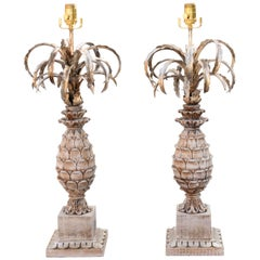 Pair of Carved Wood and Metal Pineapple Form Lamps
