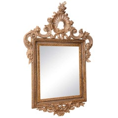 18th Century Italian Carved Silver Giltwood Mirror
