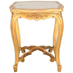 Carved Giltwood Accent Table with Mirrored Top