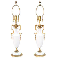 Fine Pair of Opaline Lamps