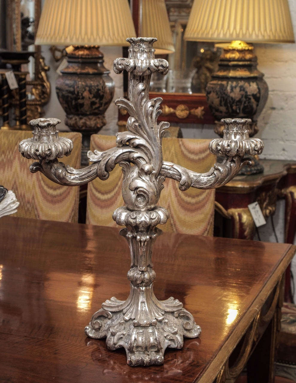 Italian Louis XV Style Silver Giltwood Three Arm Candle Sticks In Good Condition For Sale In New Orleans, LA