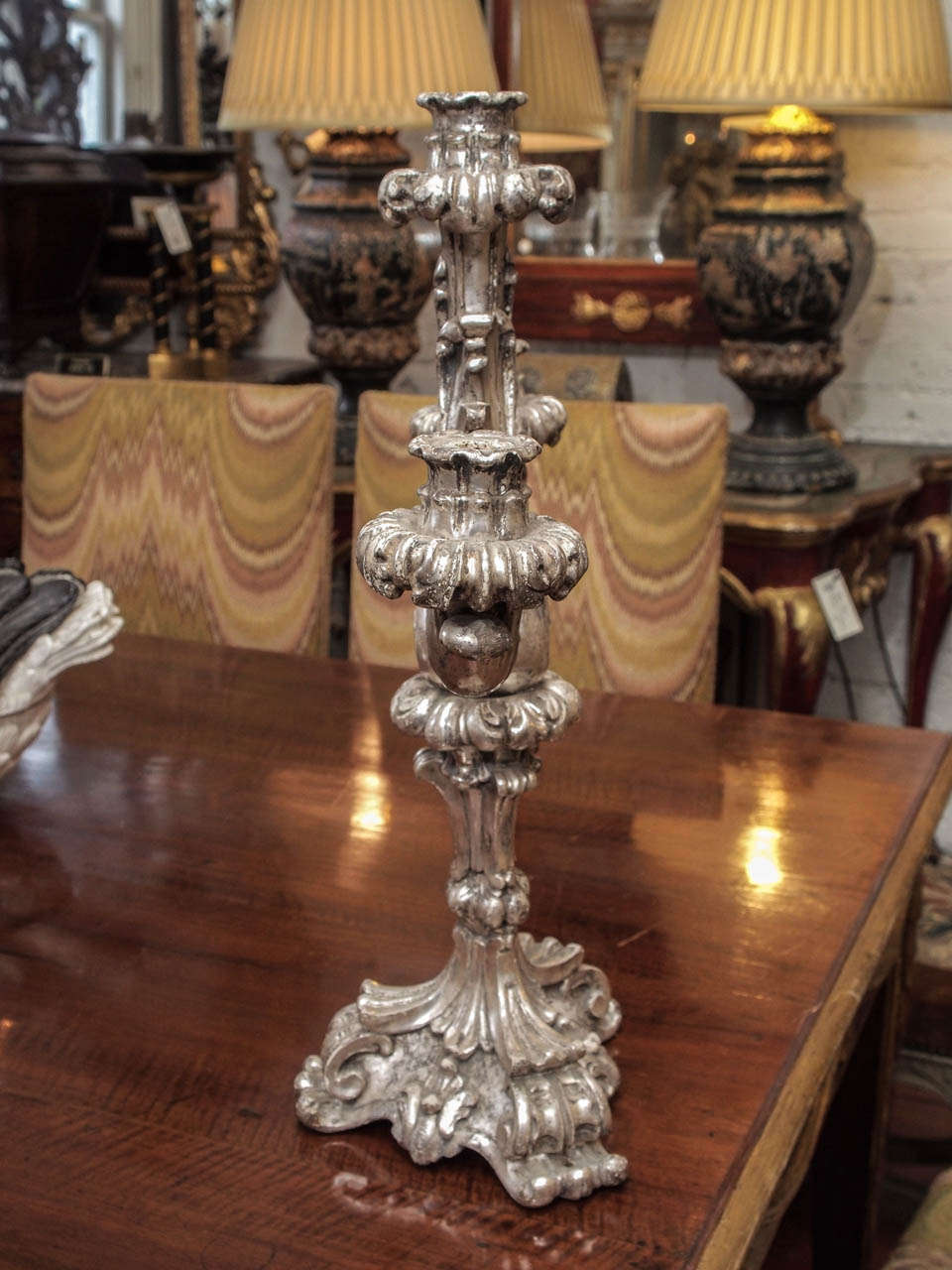 Italian Louis XV Style Silver Giltwood Three Arm Candle Sticks For Sale 3