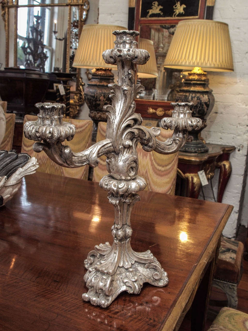 Italian Louis XV Style Silver Giltwood Three Arm Candle Sticks For Sale 5
