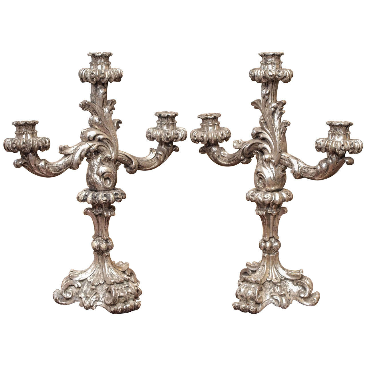 Italian Louis XV Style Silver Giltwood Three Arm Candle Sticks For Sale