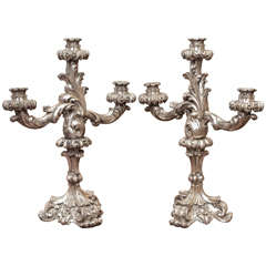 Italian Louis XV Style Silver Giltwood Three Arm Candle Sticks