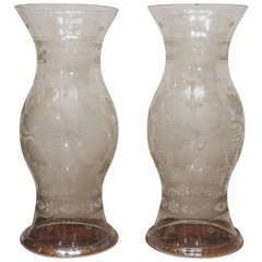 """Pair of 19th Century Etched Glass  """"Hurricane Shades"""""""