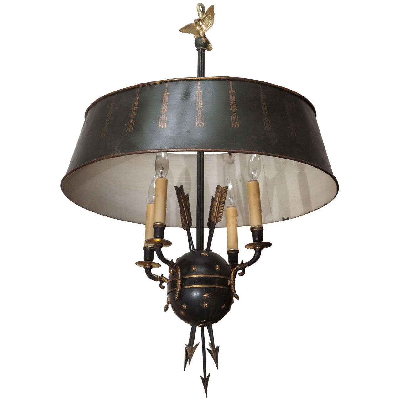 Tole and Brass Chandelier with Tole Shade