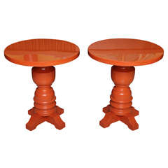 Fun Burnt Orange Lacquered Architectural Side Tables