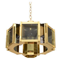 Elegant Brass and Smoked Glass Chandelier by Frederick Ramond