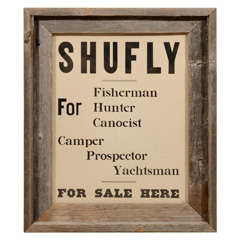 """Vintage """"Shufly"""" Nautical Sign in Oak Frame"""
