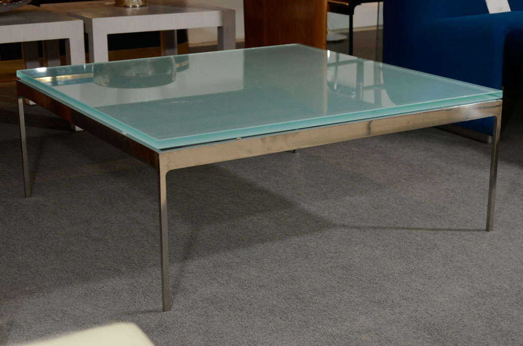 Superbe Sleek Stainless Steel And Frosted Glass Coffee Table Designed By Nicos  Zographos For Zographos. USA