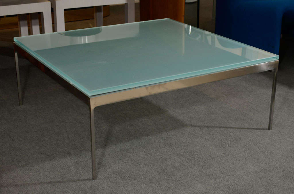 Sleek Steel and Frosted Glass Coffee Table by Nicos Zographos at