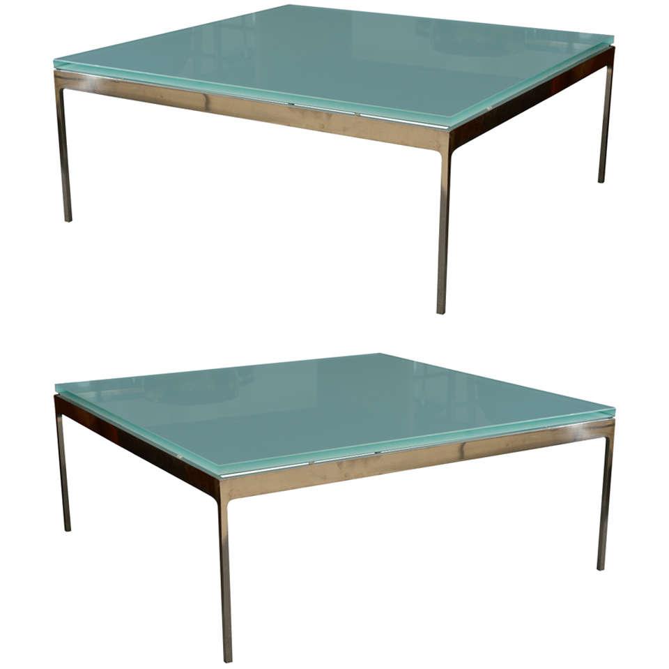 Sleek Steel U0026 Frosted Glass Coffee Table By Nicos Zographos 1