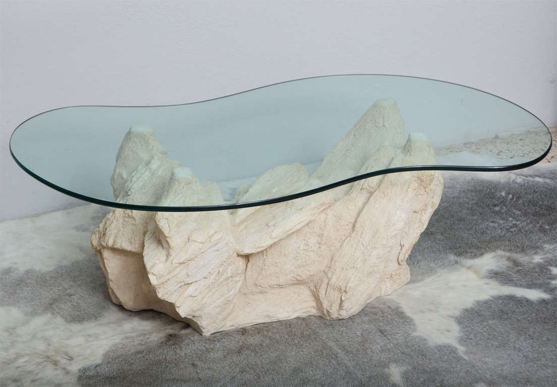 Plaster Faux Rock Coffee Table By Sirmos At 1stdibs