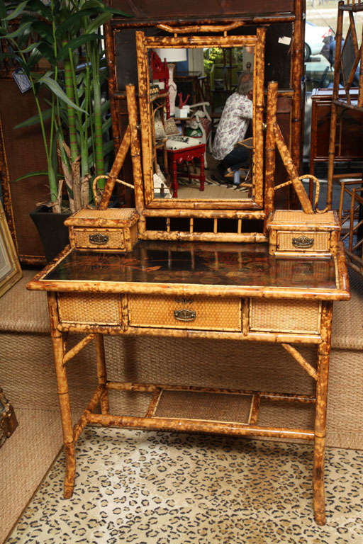 19th Century English Bamboo Ladies Mirrored Vanity At 1stdibs